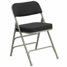 Bowery Hill Metal Folding Fabric Chair in Black and Gray