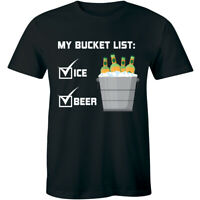 My Bucket List Funny Mens T Shirt Beer Ice Bucket Alcohol Party Soft Tee