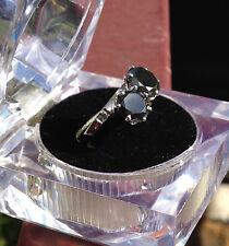 Lady's 925 SS 2.71Ct Black Moissanite & Natural Rough Diamond  Ring S:7.50