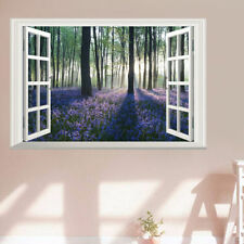 3D Blossoming Lavender Forest Window Wall Sticker Art Mural Decal Living Room