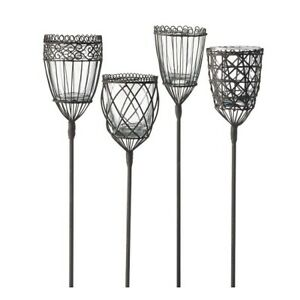 Set of 4 Tall Rust Garden Torch With Glass 100 cm by Parlane