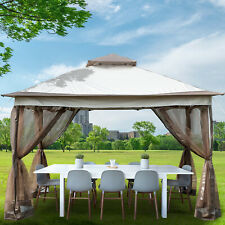 Gazebo Canopy 12'x12' Pop Up Tent Mesh Mosquito Net Patio Steel Fabric Outdoor