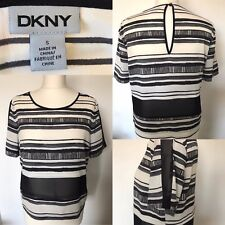 SALE - Womens DKNY Black & White Striped Top - Size Small - Summer Tee Designer
