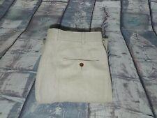 $118.50 Brooks Brothers 1818 Beige IRISH LINEN Flat Front Dress Pants 36X32 EUC