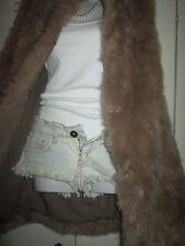 Zara Basic Celebrity Style Faux Fur Open Front Jacket/ Vest Sz M SPAIN