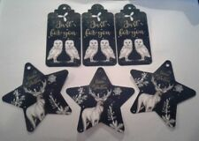 6 gift tags, Owls / Stag designs, nature / wildlife / christmas / winter scenes