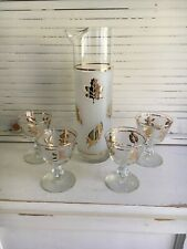 Vintage Libbey Martini Set Clear/ Frosted Gold Leaves & Rims Pitcher+4 Glasses