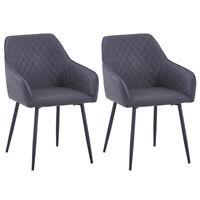 Grau 2er Set Esszimmerstuhl Wohnzimmer Küchenstühle gepolstert Stuhl Kunstleder