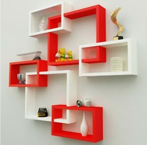 Intersect wall shelf wooden wall shelf set of 6 (Red and White)