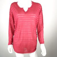 Lane Bryant Womens Plus Size 14/16 Red Sheer Striped Long Sleeve Blouse Shirt