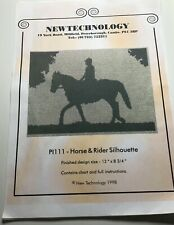 Horse and Rider Silhouette Cross Stitch Pattern and Instructions. Used