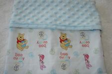 Pooh Be Cuddly Cotton Top Blue Minky Bassinet/Crib Blanket Handmade