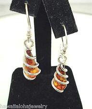 10.5mm 925 Silver Genuine Baltic Sea Honey Amber Teardrop Swirl Hook Earrings