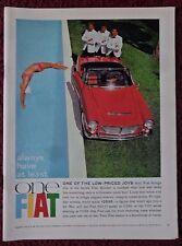 1962 Print Ad Fiat Spider Sports Car ~ 600/D Sedan Always Have at Least One FIAT