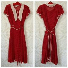 VTG 1930s Semi-sheer Cotton Day Dress | Red and White Print | Collar | Waist Tie