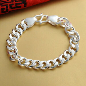 Pure S999 Sterling Silver Chain Men Women Gift Solid Curb Link Bracelet