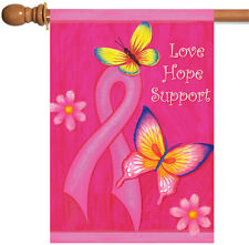 New Toland - Love Hope Support - Bright Pink Ribbon Cancer Butterfly House Flag