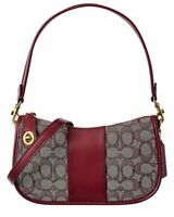 Coach Swinger Signature Jacquard & Leather Shoulder Bag Women's Red