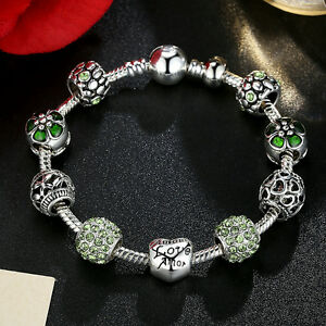 Fashion Jewelry Silver Charm Bracelet With LOVE STORY Green European Charms