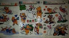 3 Vintage Vinyl Window Cling Sheets Winnie The Pooh Christmas & Halloween