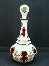 Vintage BOHEMIAN CZECH MOSER White Cased Glass cut to Ruby Decanter