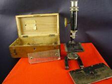 altes kleines Reise Mikroskop Paul Waechter in Box zerlegbar  [07-320