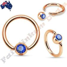 316L Surgical Steel Rose Gold Captive Bead Ring with Blue Gem Set Ball