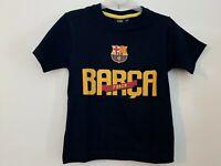 Boys Kids Children FC Barcelona Cotton Short Sleeve T Shirt Top Age 3-12 years
