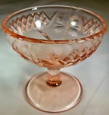 U.S. GLASS CO. FLORAL & DIAMOND BAND PINK FOOTED SHERBET or DESSERT DISH!