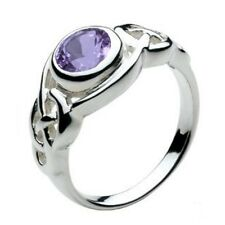 Solid Silver Celtic Round Knot Amethyst Ring Jewellery Size L-Q Celtic Jewellery