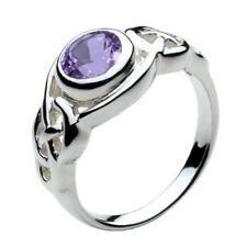 solide argent celtique rond anneau Améthyste Bague BIJOUTERIE taille L-Q