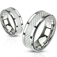New Stunning White Carbon Fibre Inlay Mens / Ladies Steel Wedding Band Ring (A7)