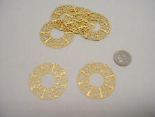 "Raw Brass Filigree ""Wreath"" Jewelry Findings 6 pieces"