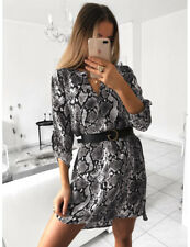 Ladies Women Leopard Snake Print V-neck Long Sleeve Casual Mini Shirt Dress 8-18