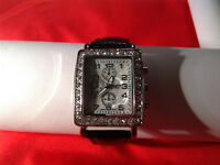 Sophia Crystal Rectangle Face Silver Tone Black Leather Band Wrist Watch 8.5""