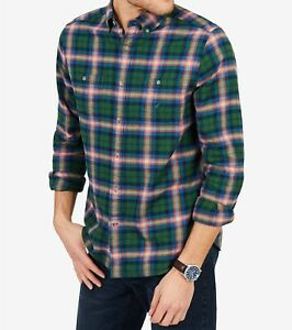 Nautica Men's Classic-Fit Plaid Flannel Button-Down Shirt, Pacific Pine Green, S