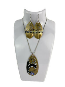 NFL New Orleans Saints Vintage Teardrop Spinner Earring and/or Necklace Set