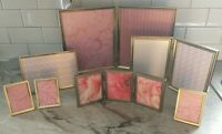 Lot of 7 Vintage gold brass metal tone photo picture frames various decor folds