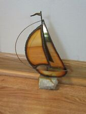 Brass / Copper? Sailboat on Marble base,Signed,Used.9 1/2 in.high.