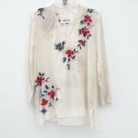 Johnny Was Cream Floral Embroidered Tunic Size XS