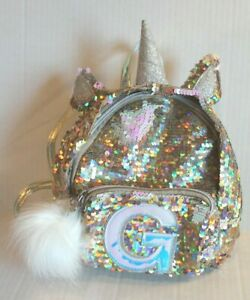 """Justice Girl's Gold Sequin Unicorn Initial Letter """"G"""" Mini Backpack Purse EUC"""