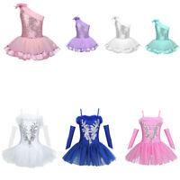 UK Girls Ballet Dance Tutu Dress Kid Leotards Sequin Crystal Ballerina Dancewear