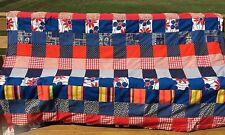 QUILT Bedspread Handmade Mulitcolor Blue Red Floral Twin Size