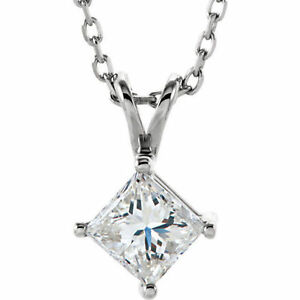 Diamond Solitaire Pendant In 14K White Gold (3/8 ct. tw