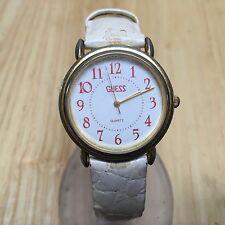Vintage 1989 Guess Men Gold Tone White Leather Analog Quartz Watch Hour~New Batt
