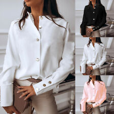 Casual Shirts Women Blouse Ladies Loose Office Polyester Clothes Solid color