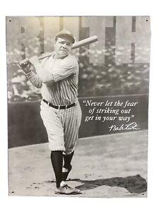 "Babe Ruth No Fear - Vintage Retro Tin Metal Sign, 13"" x 16"""