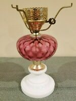 "Vintage Lamp Cranberry Glass Optic with White Milk Glass Round Base 10"" Fitter"