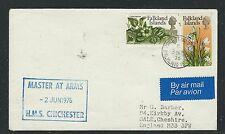FALKLAND ISLANDS (P1101B) 1975 FLOWER 1 1/2P+4P SHIP COVER, HMS CHICHESTER