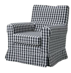 Ikea Ektorp Cover for Jennylund Armchair in Black/grey/white check 601.197.89